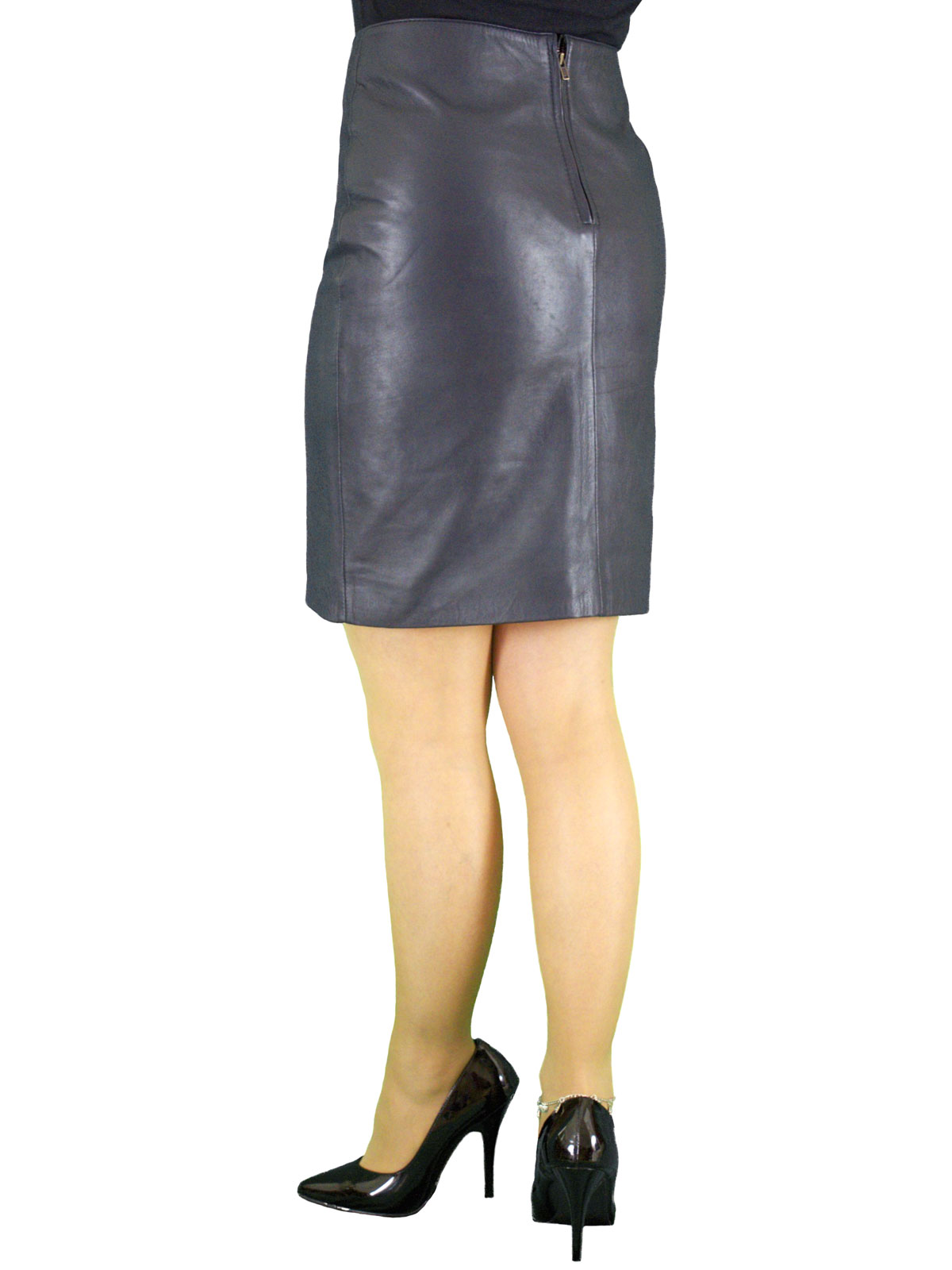 luxury leather pencil skirt above knee 19in length 5