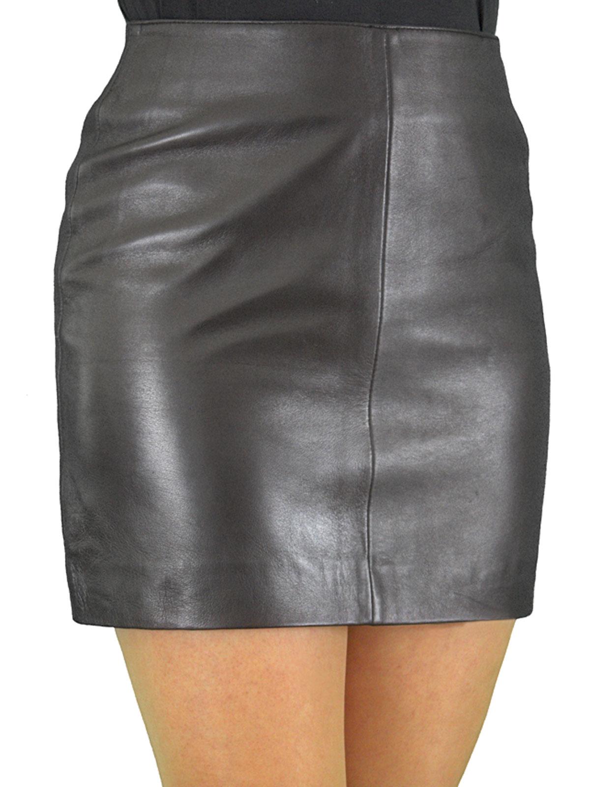 Soft Leather Mini Skirt with Full Rear Zip - Tout Ensemble