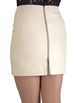 Cream Leather Mini Skirt Rear Zip