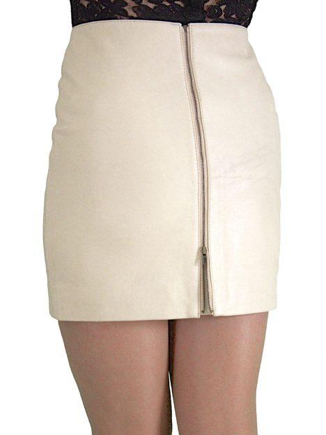 Cream Leather Mini Skirt Rear Zip