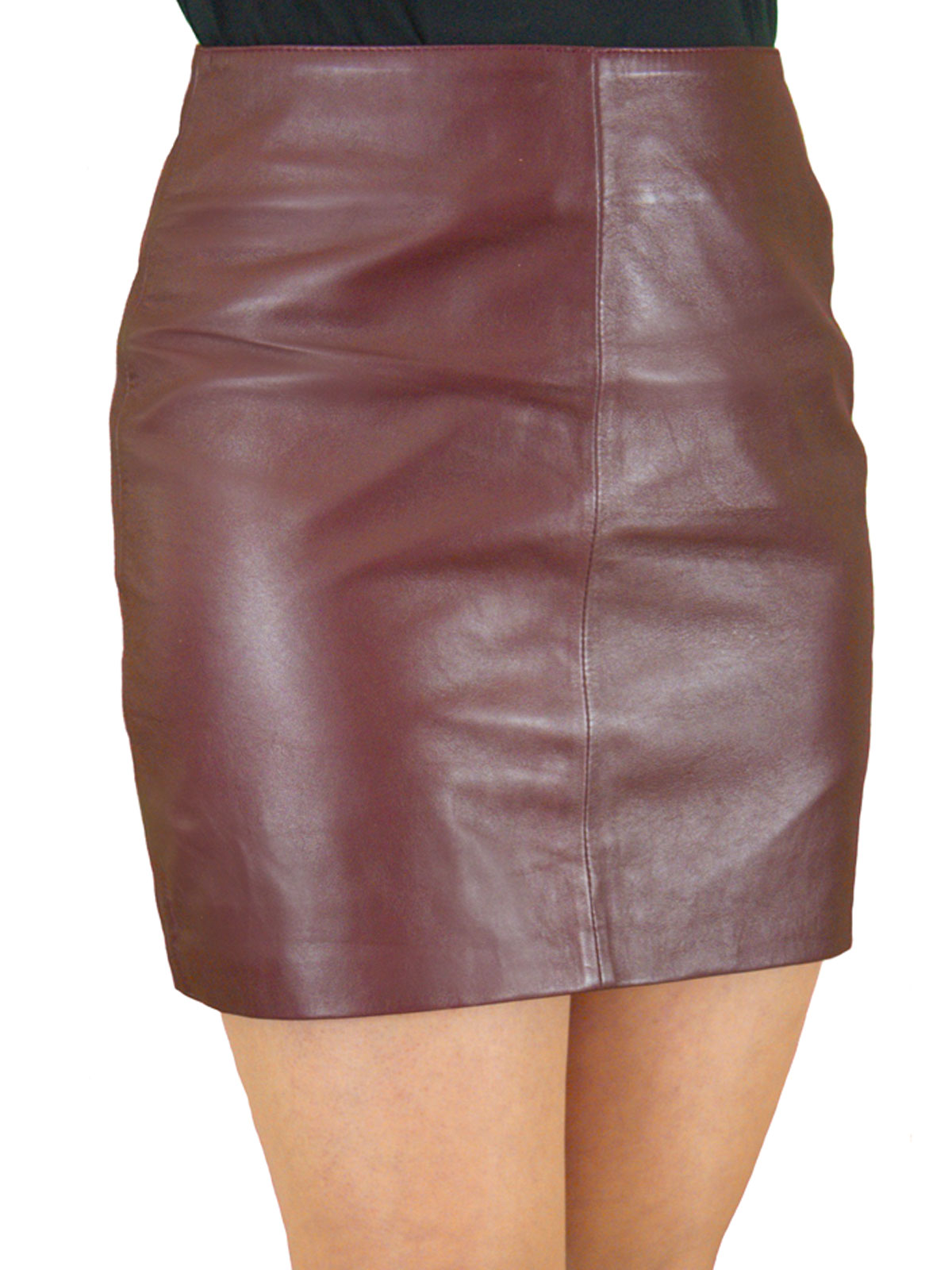Soft Leather Mini Skirt with Full Rear Zip - Tout Ensemble