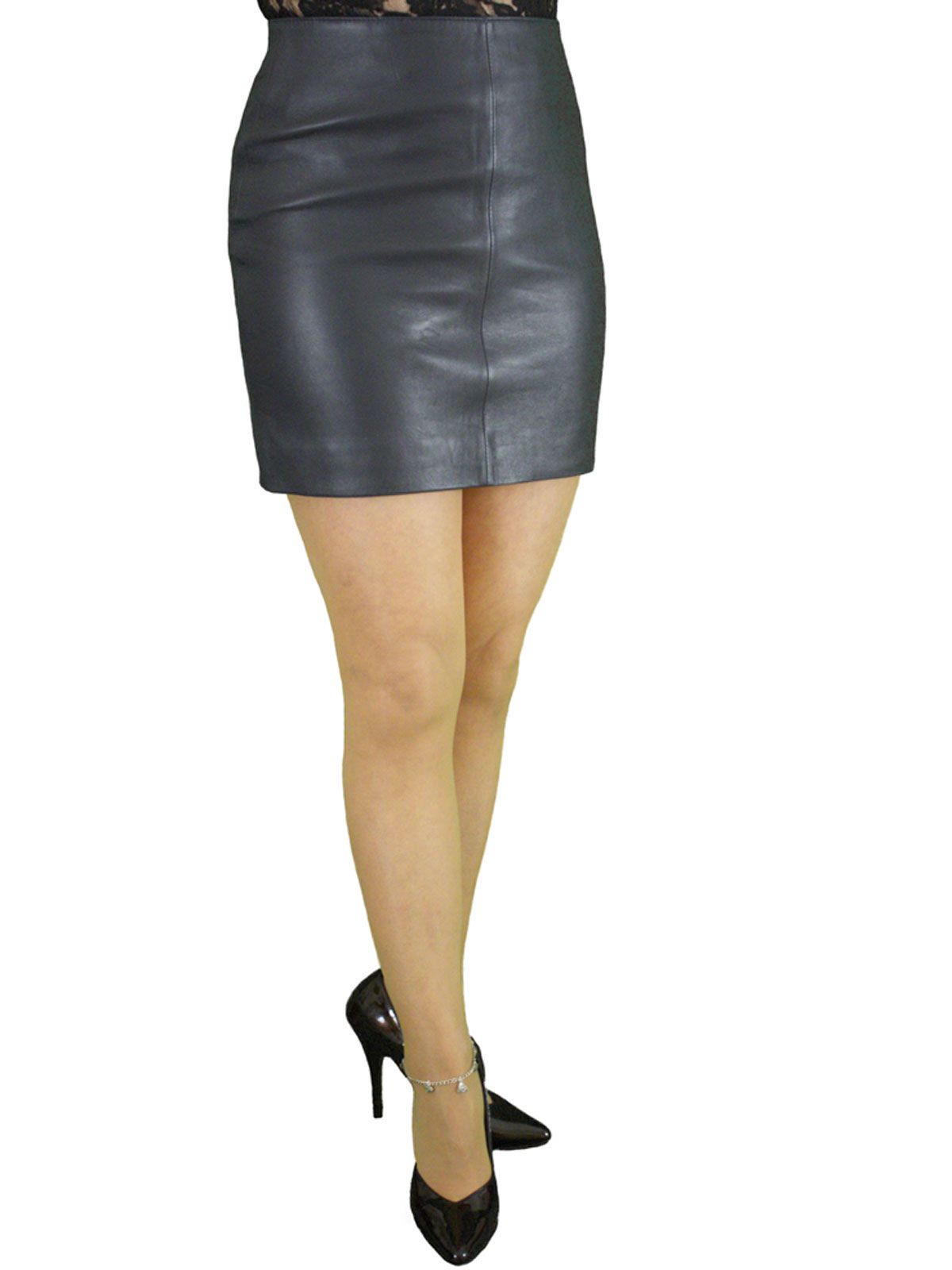 Soft Leather Mini Skirt With Full Rear Zip 4 Colours