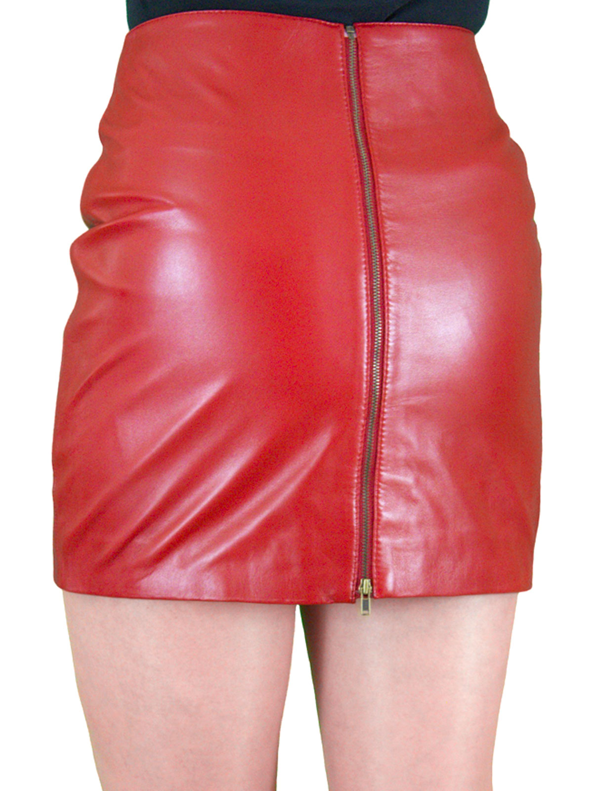 Red Leather Mini Skirt - Dress Ala