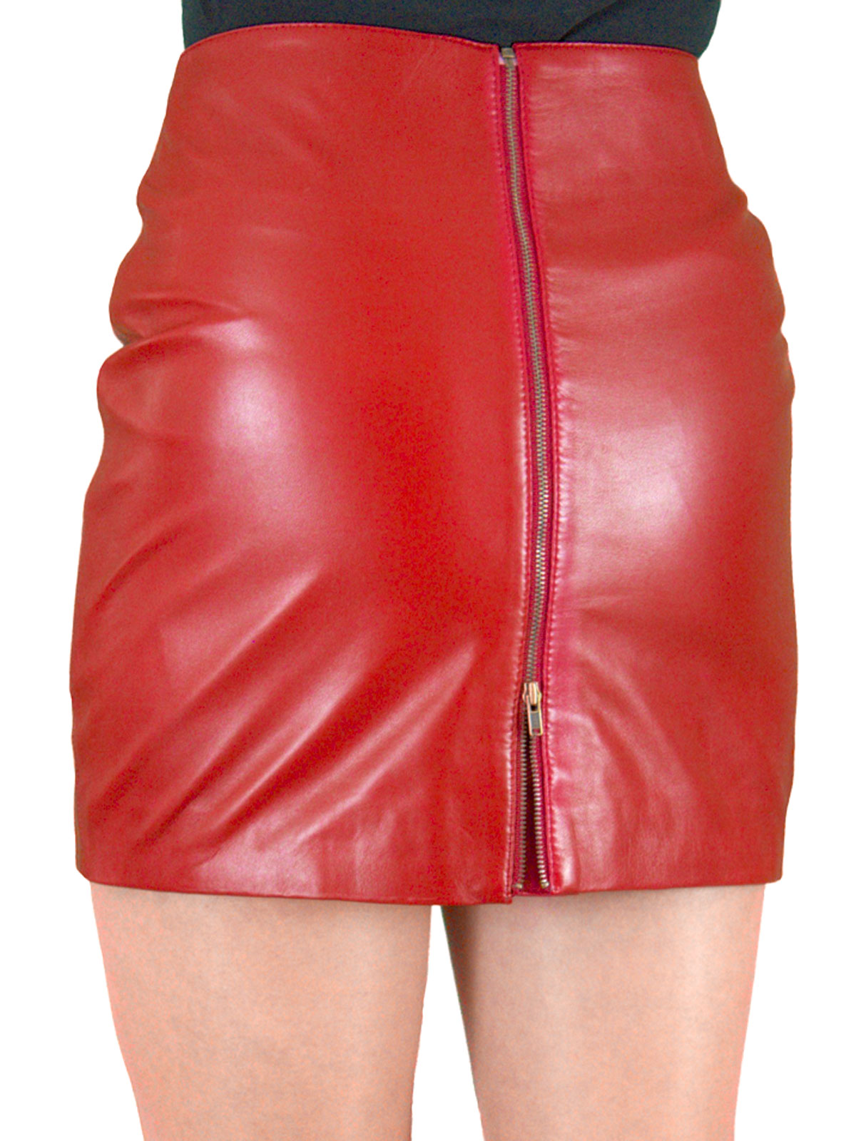 Soft Leather Mini Skirt With Full Rear Zip 5 Colours