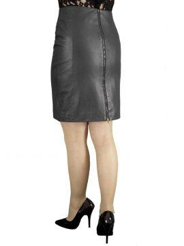 Black Leather Pencil Skirt rear zip