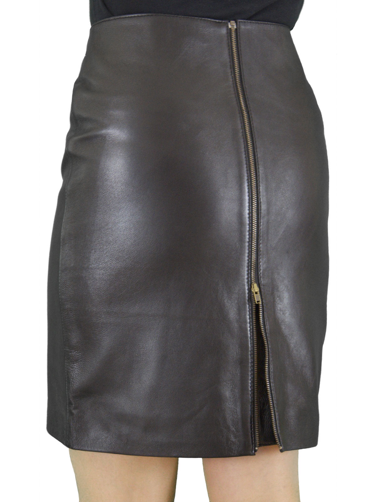 Soft Leather Pencil Skirt, full rear zip, 19in length - Tout Ensemble