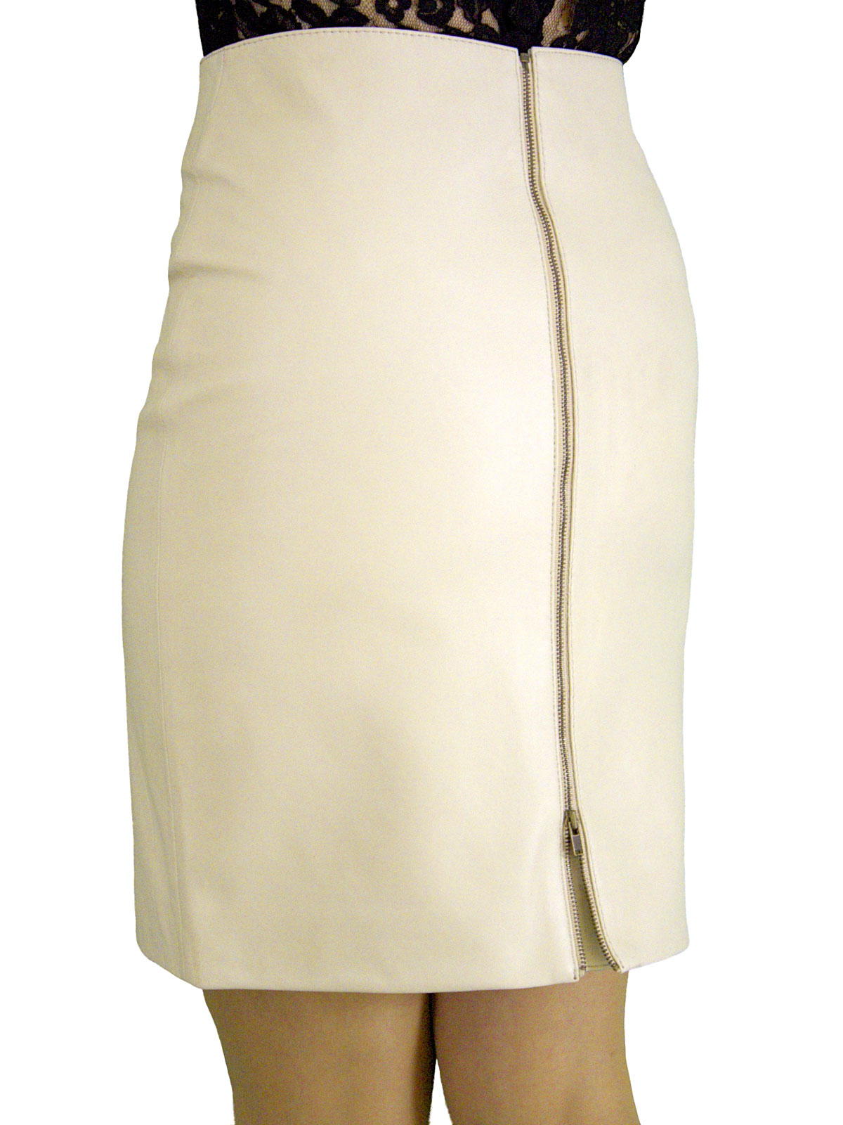 Cream Leather Skirt - Dress Ala