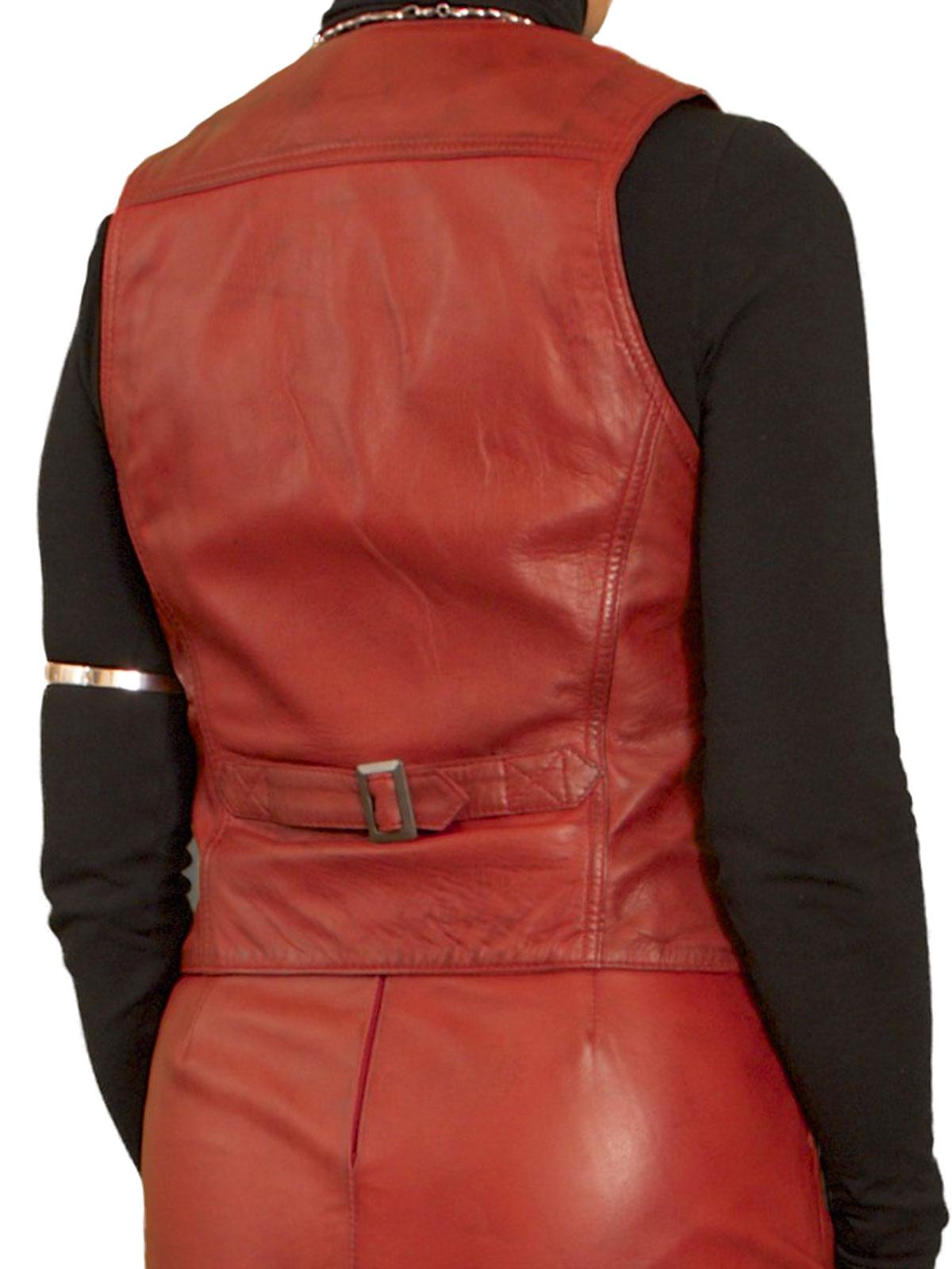 Womens Luxury Leather Waistcoat Back Belt Tout Ensemble