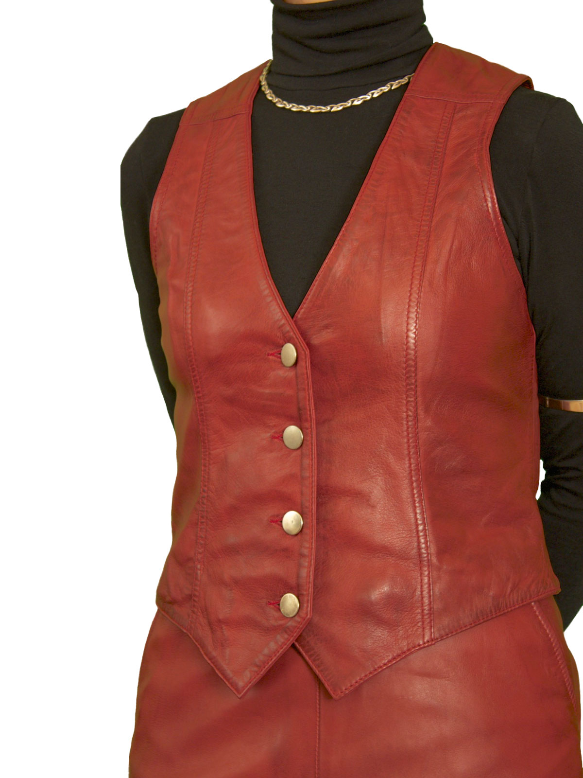 Womens luxury leather waistcoat back belt tout ensemble for Red leather shirt for womens