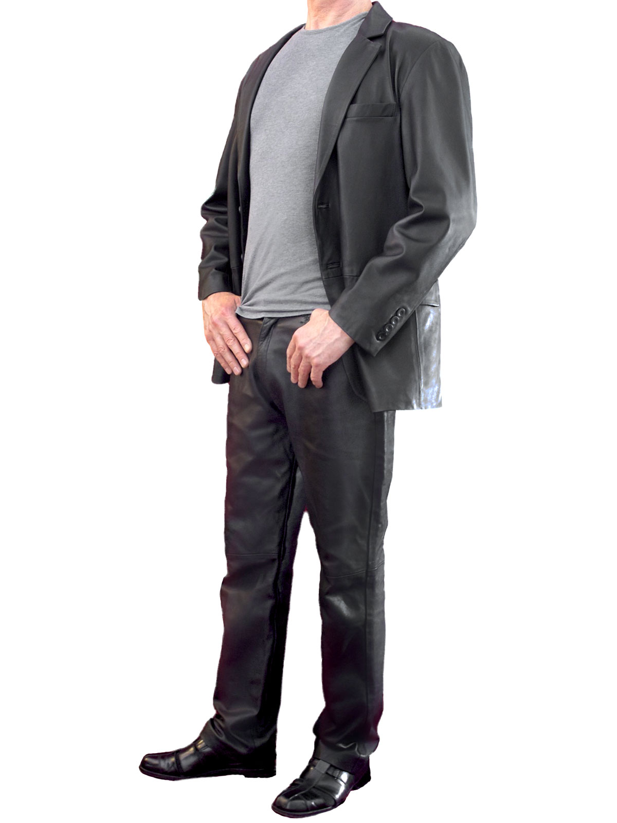 Mens Smart Soft Black Leather Jacket Blazer Tout Ensemble