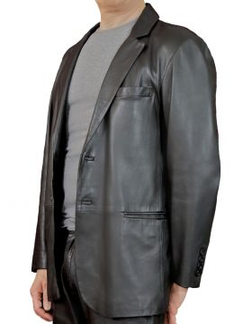 Mens Black Soft Leather Jacket Blazer