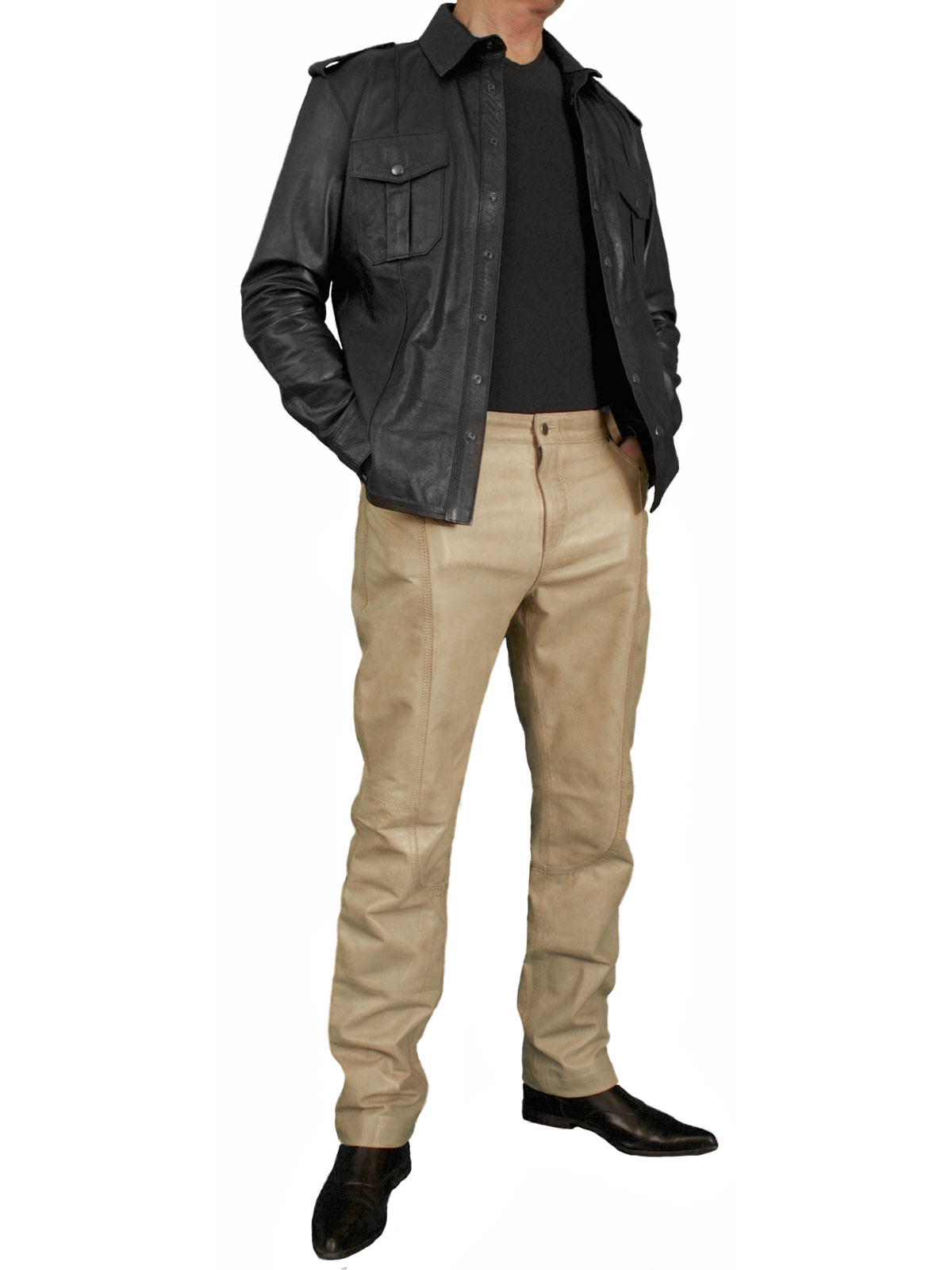 Mens luxury lambskin leather trousers jeans 12 colours for Mens shirts with leather