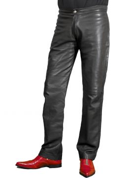 Mens Smart Black Leather Trousers