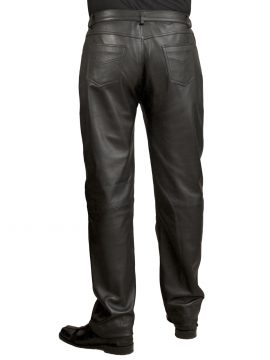 Mens Classic Black Leather Jeans