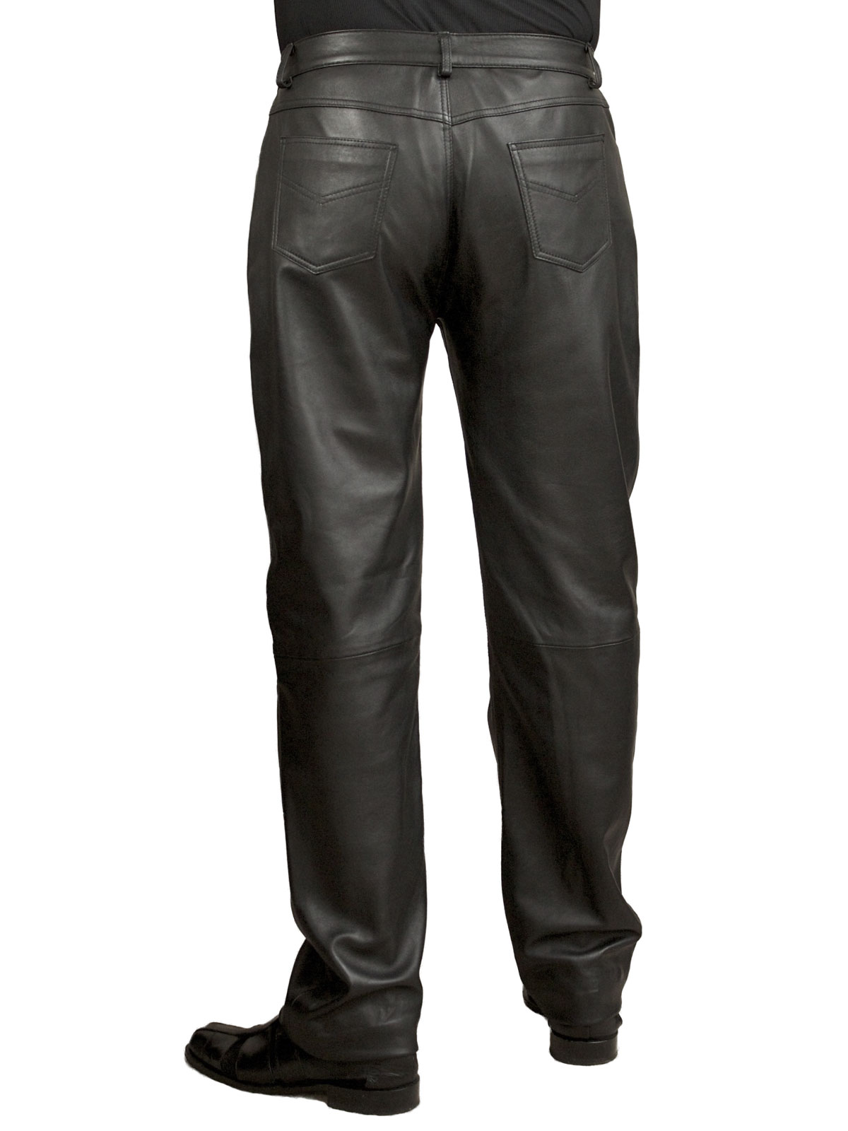 Mens Black Soft Leather Trousers Jeans Tout Ensemble