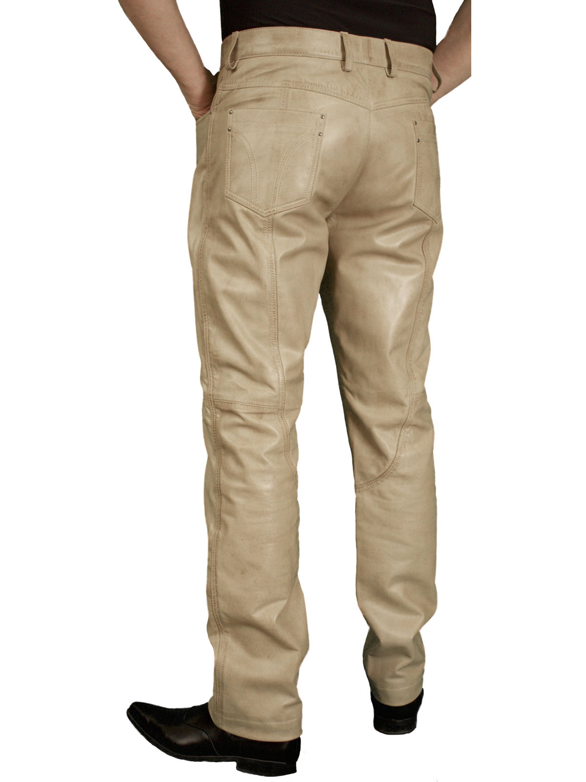 Mens Beige Smart Leather Trousers Jeans
