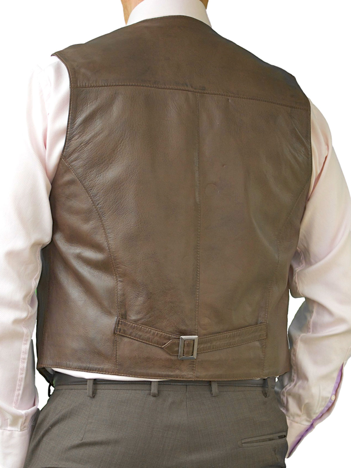 10 Colours Ashwood Mens Real Leather Waistcoat with Back Buckle Belt