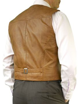 Mens Tan Leather Waistcoat back belt