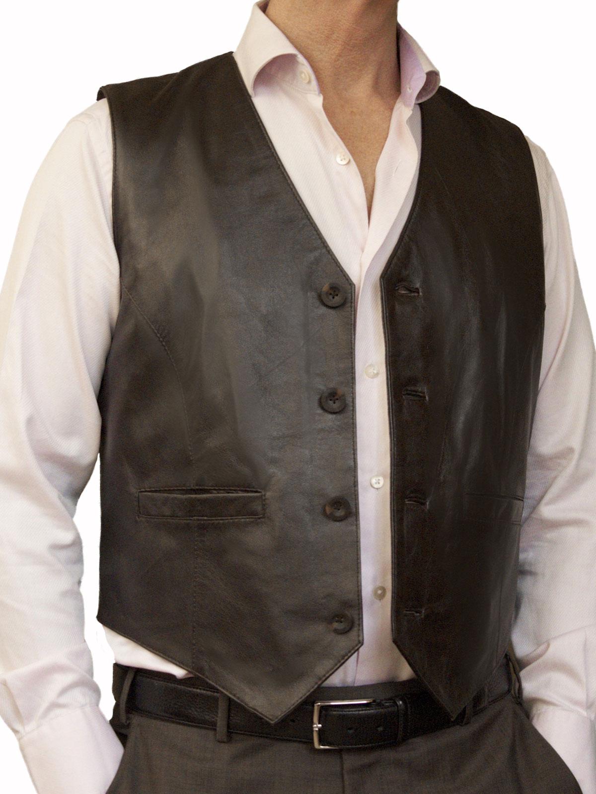 Mens Luxury Leather Waistcoat, plain back