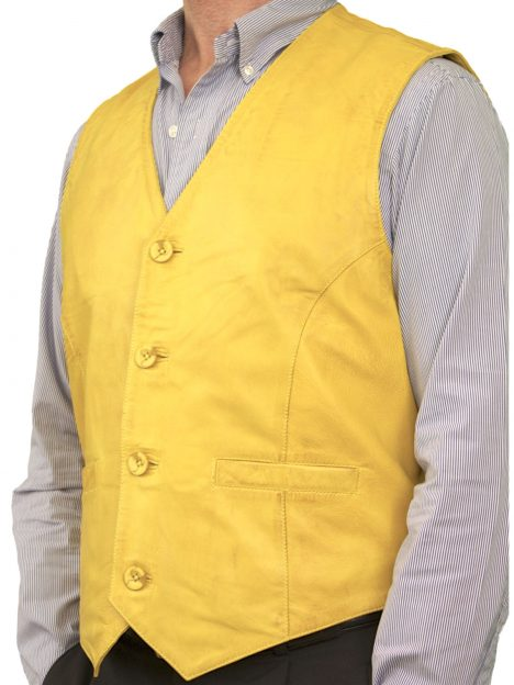 Mens Yellow Soft Leather Waistcoat, plain back