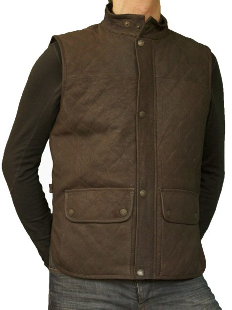 Mens Brown Leather Gilet