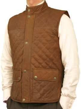 Mens Tan Leather Gilet