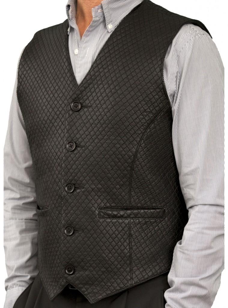Mens Black Diamond Stitch Leather Waistcoat