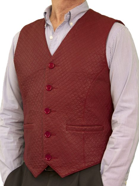 Mens Burgundy Diamond Stitch Leather Waistcoat