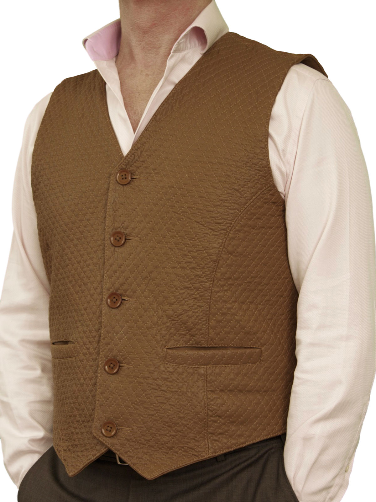 Mens Diamond Stitch Leather Waistcoat Back Belt 4