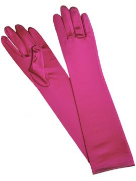 Pia Rossini Hot Pink Satin Evening Gloves