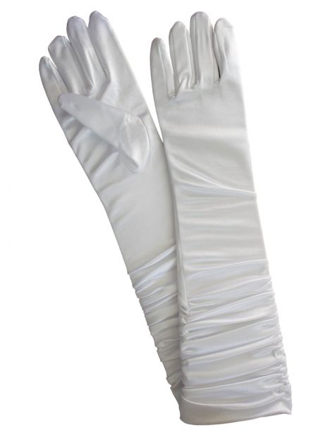 Pia Rossini White Ruched Long Satin Evening Gloves