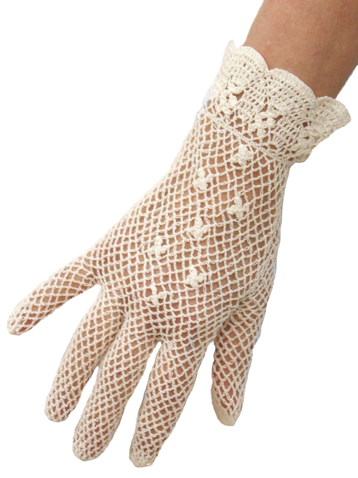 Dents Cotton Crochet Short Dress Gloves