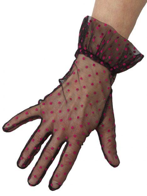 Dents Black Hot Pink Sheer Net Polka Dot Vintage Dress Gloves