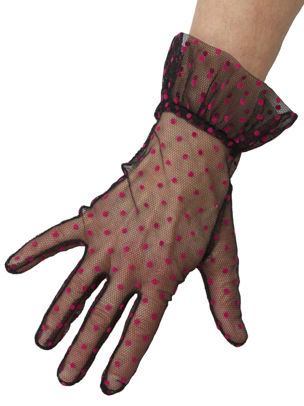 Dents Black Hot Pink Sheer Net Polka Dot Vintage Dress Gloves