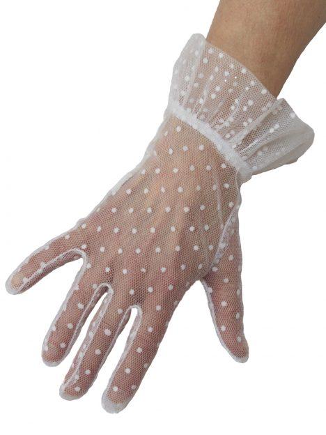 Dents White Sheer Polka Dot Vintage Dress Gloves