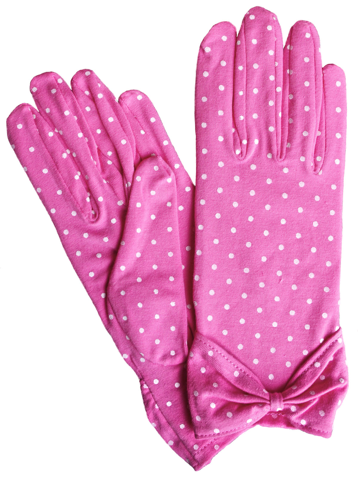 Dents Pink Cotton Polka Dot Vintage Dress Gloves
