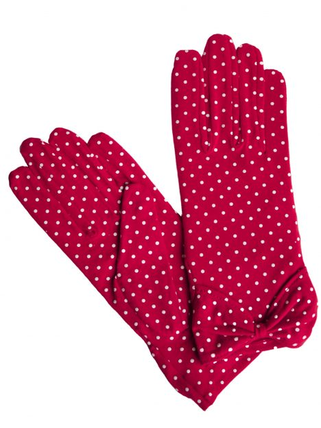 Dents Red Cotton Polka Dot Vintage Dress Gloves