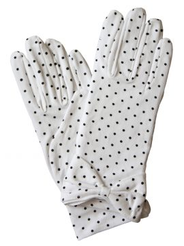 Dents White Cotton Polka Dot Vintage Dress Gloves