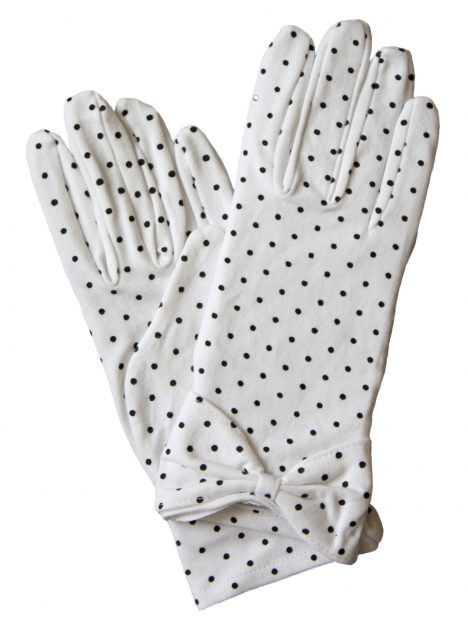 Dents White Cotton Polka Dot Vintage Dress Gloves