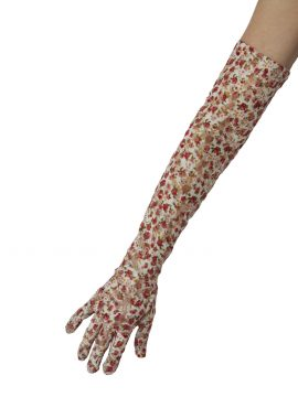 Dents White Floral Pattern Long Lace Gloves