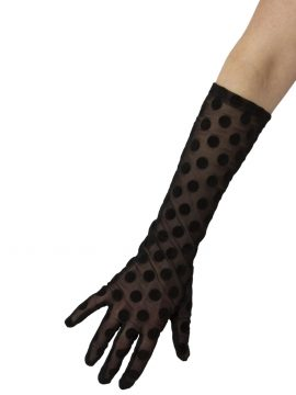 Dents Black 3/4 length large spot long dress gloves