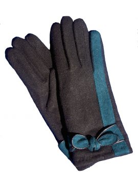 Pia Rossini Ladies Black Angora Wool Gloves with Pine Stripe and Bow