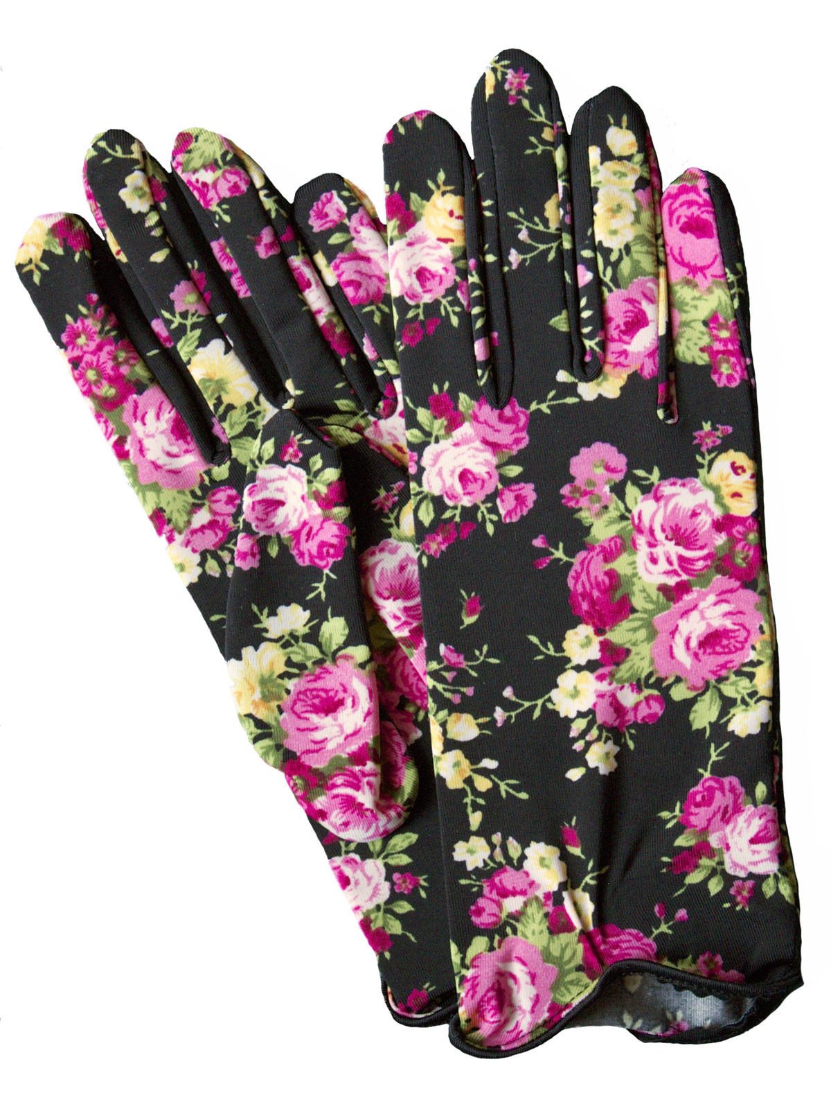 Dents Floral Print Short Dress Gloves Womens Tout Ensemble