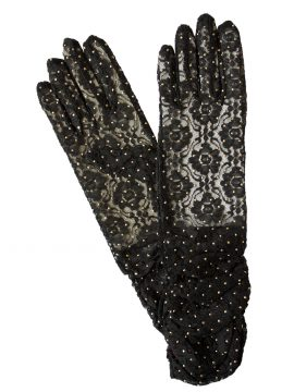 Dents Black Ruched Sheer Lace Dress Gloves with beads