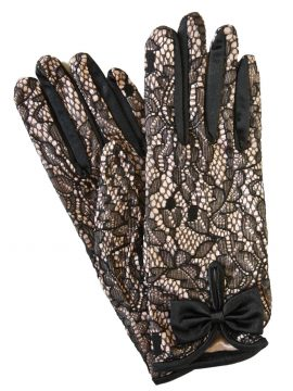 Dents Short Blush Pink Satin Black Lace Dress Gloves