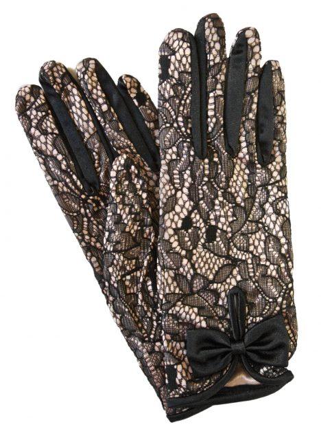 Dents Short Blush Pink Satin Black Lace Dress Gloves