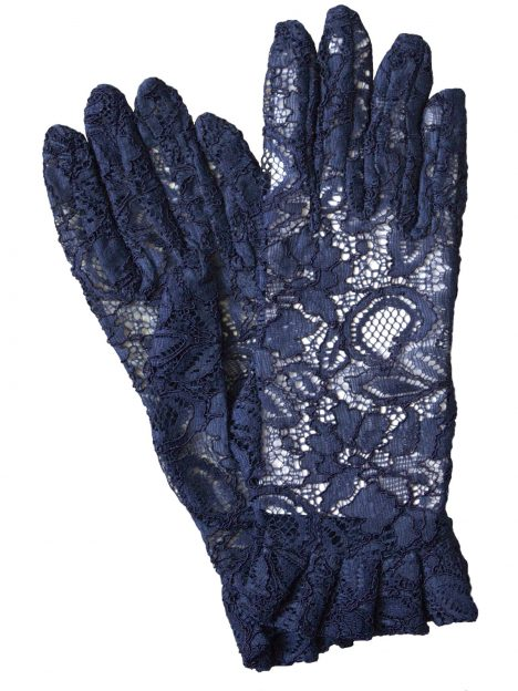 Dents Navy Lace Dress Gloves with Ruffle Cuff