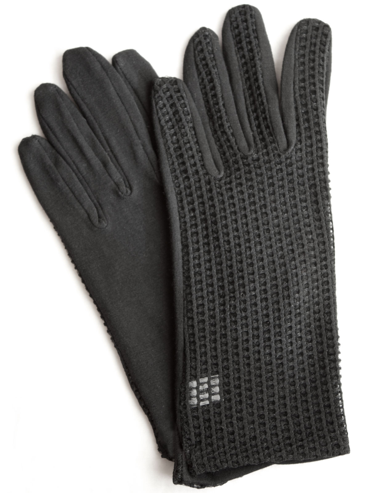 Dents Ladies Short Black Dress Gloves with mesh back