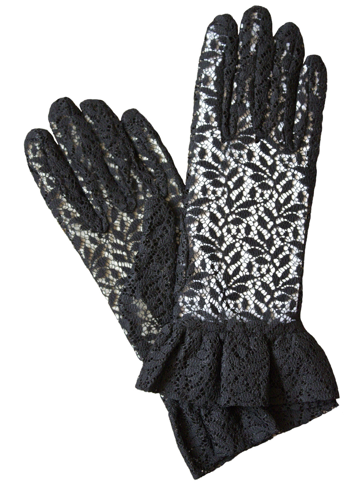 Dents Ladies Black Lace Dress Gloves with frilled cuff