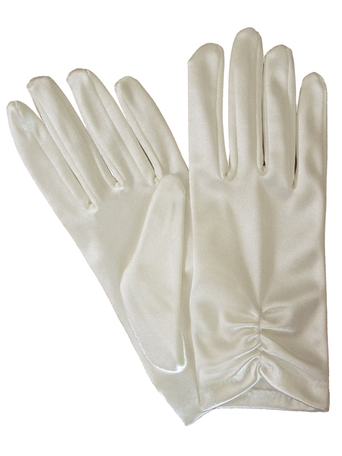 Dents Ivory Ruched Short Satin Dress Gloves